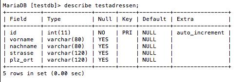 Beschreibung der Testtabelle