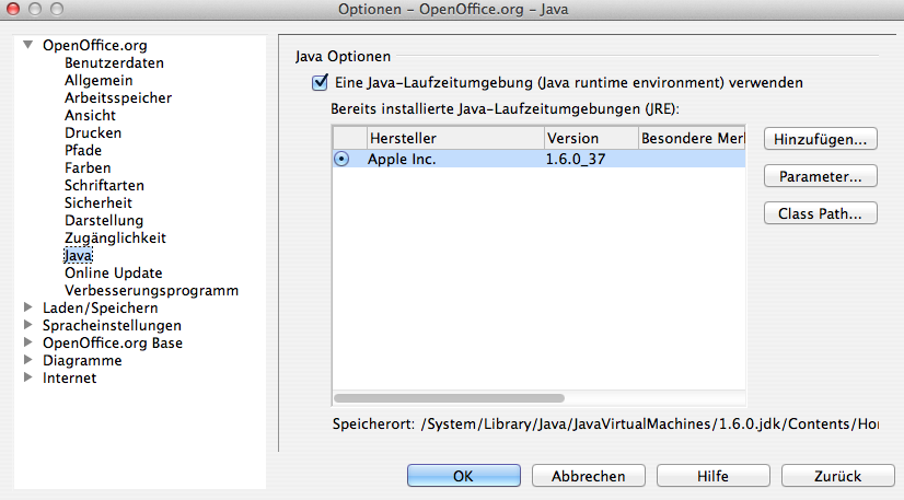 OpenOffice - Java -Einstellungen